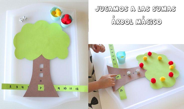 Jugamos a las sumas con este juego manipulativo. EL ÁRBOL MÁGICO DE LAS SUMAS con cartulinas bolas de algodón e imaginación