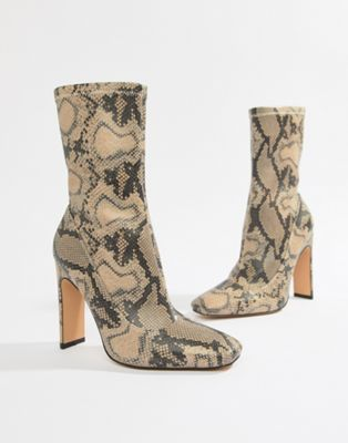 254eb9106c Missguided heeled ankle boots in snake print | Closet | Snake print ...
