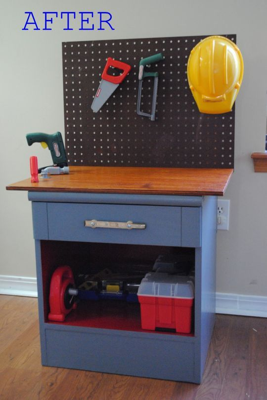 "Play workbench. The best part is that the ""play"" toolbox is apparently my actual toolbox from Target. (I still have my own separate toolbox from college so I can actually find a hammer when I need one.)"
