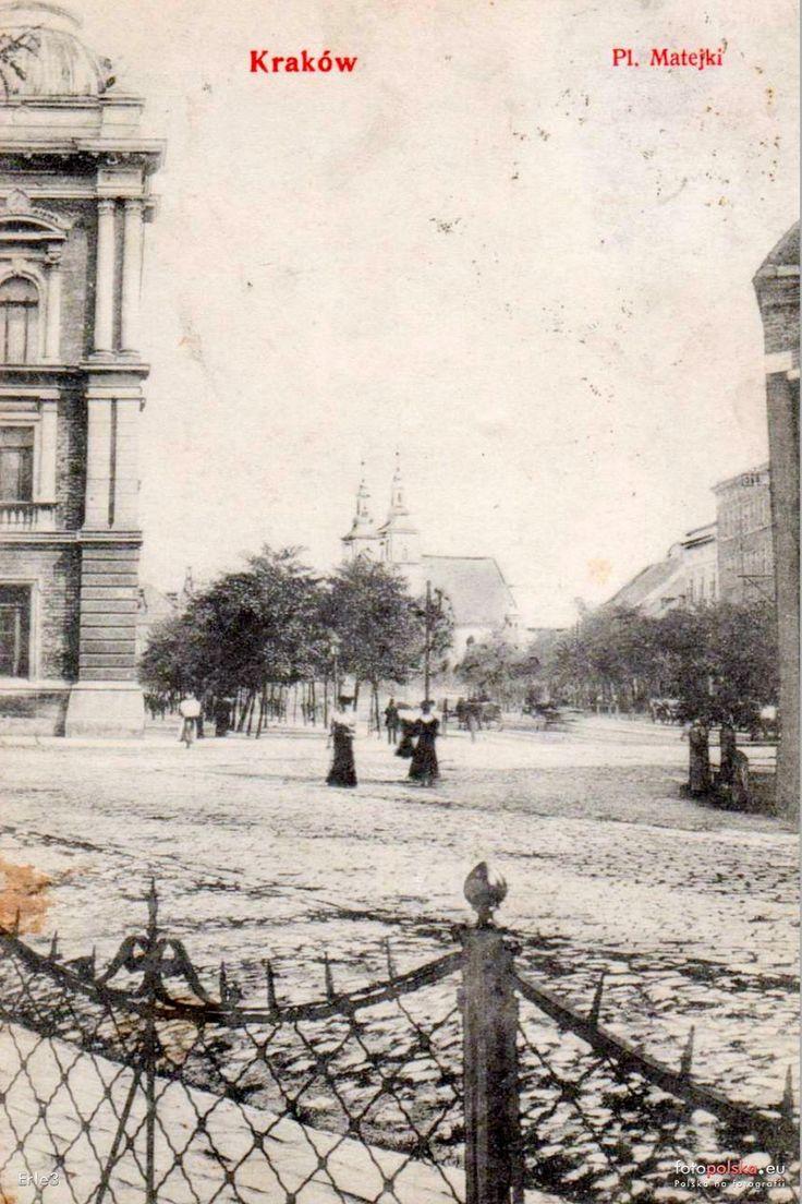pl. Matejki Jana , Kraków - 1908 rok, stare zdjęcia