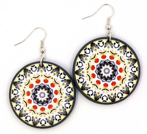 Grey round earrings trendy summer jewelry gift by JewelryByJolanta