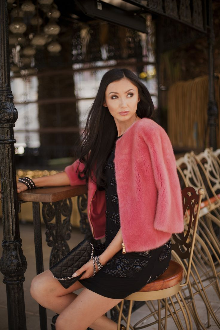 Pink crop mink fur coat is cooler then your regular jacket, available at different sizes. For details visit our stores or contact us via What's App