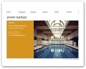A web site we designed for Jerome Markson Architect Inc in Toronto, Ontario. We focused on showcasing his outstanding work with clean lines and easy navigation.