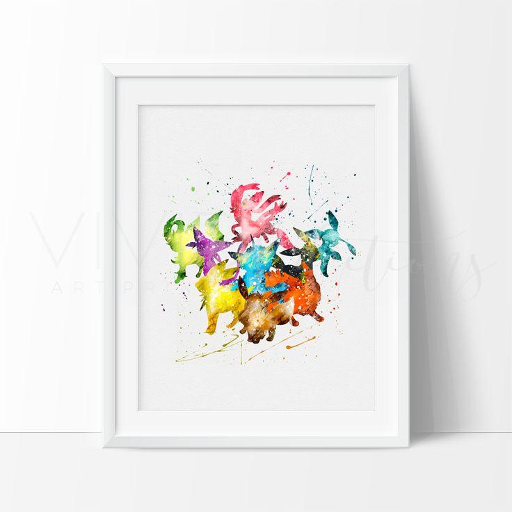 Eevee Pokemon Watercolor Nursery Art Print Wall Decor