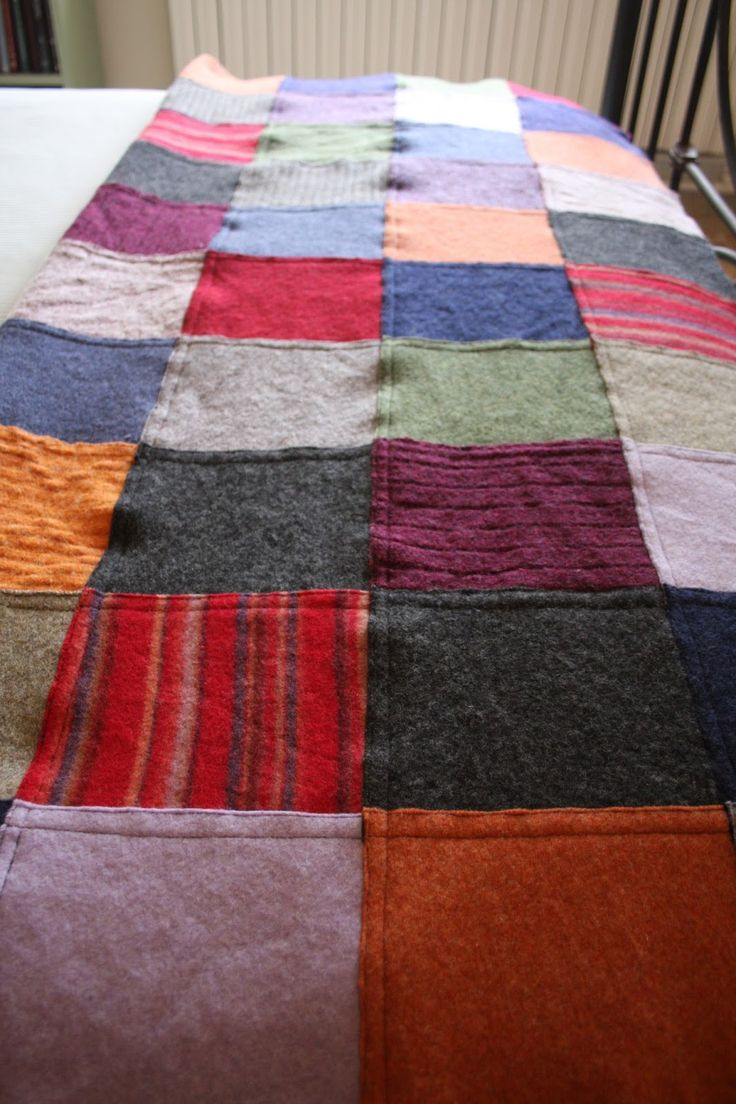 79 Best Images About Felted Sweater Blankets On Pinterest