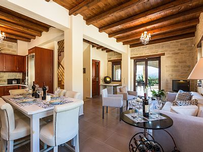 Rethymno villa rental - Fully equipped kitchen, dining and sitting area!