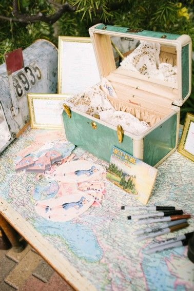 Blush and Vintage Travel Themed Wedding