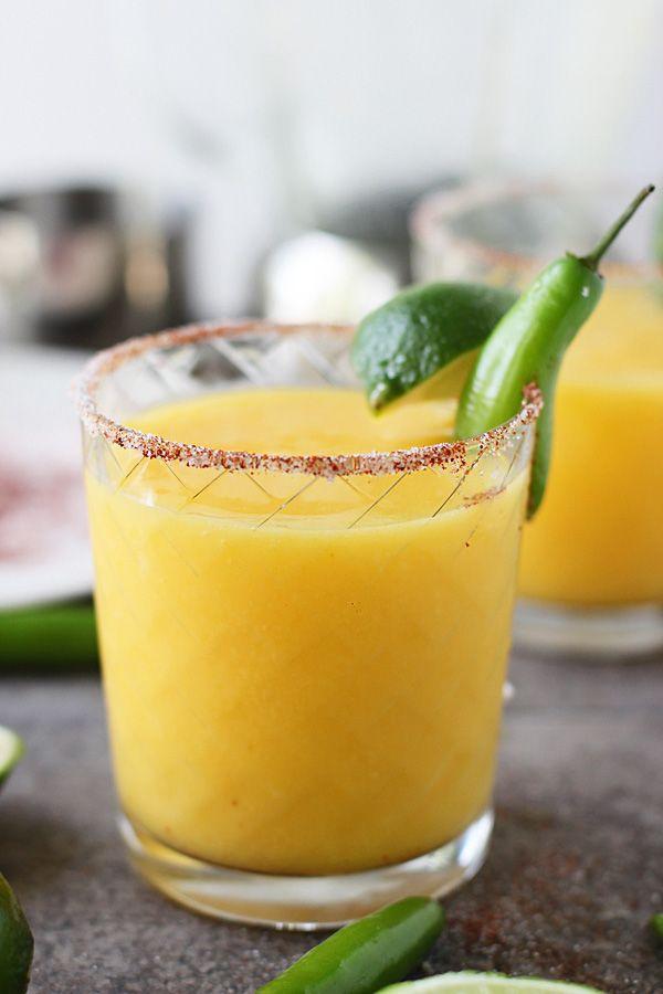 Spicy Mango & Serrano Chili Daquiris ~ Sweet with a kick of serrano pepper!