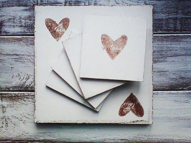 #dawandawalentynki. Drewniane podkładki do kuchni, salonu Love - MissVintage_pl - Podkładki i serwetki