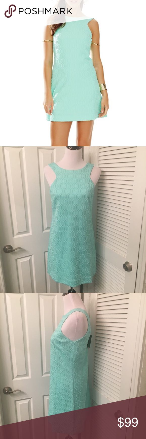 NWT Lilly Pulitzer Mango Shift Lilly Pulitzer Mango Shift Dress retro Jacquard metallic knit. Has a natural waist to hem  color is similar to a mint green. It has beautiful stitch Work but the stitching is very delicate. Total length is approximately 34 in, across the Chest is approximately 16.5in Lilly Pulitzer Dresses