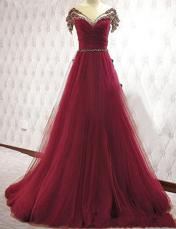 Burgundy A-Line Beading Prom Dress, Tulle Off the Shoulder Evening Dress,Cheap Prom Dresses, Evening Dress Prom Gowns, Formal Women Dress,Prom Dress, See Through Evening Dress,Prom Dresses, Cocktail Dresses, formal dresses,Wedding guests dresses