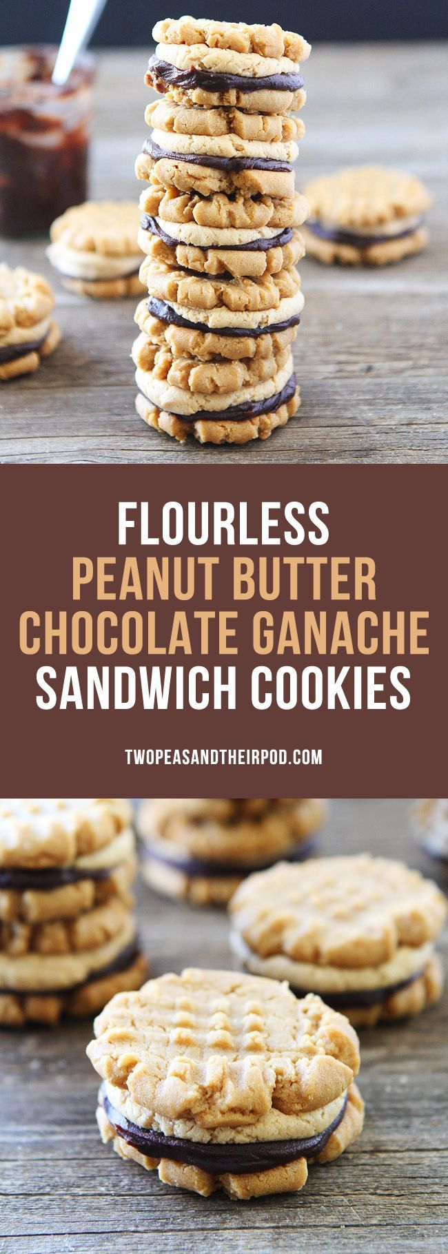 Flourless Peanut Butter Chocolate Ganache Sandwich Cookies You will never know these delicious peanut butter cookies are gluten-free! The peanut butter and chocolate combo is the BEST and two cookies are always better than one!
