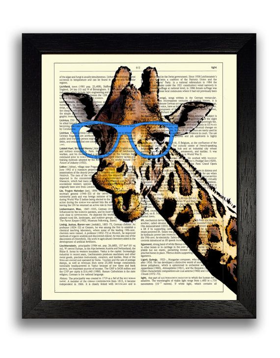 GIRAFFE in Geeky Blue Glasses, Nerd Art, Hipster Wall Decor, Hipster Art Prints, Animal Wall Decor, Animal Art, Giraffe Poster, Gift for Man