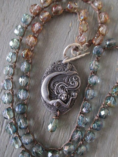Mermaid crochet necklace  Cousteau's Wonder  steel by slashKnots, $62.00