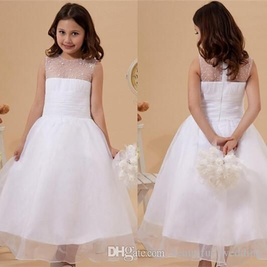 The girls dressy dresses which match the flowers- 2015 Dreamy Kids Cheap Princess Flower Girl Dress With Sheer Neck Beading Junior Pageant Dresses Communion Dresses For Sale Custom Made is offered in beautiful_wedding and on DHgate.com girls dresses size 14 along with tea length flower girl dresses are on sale, too.