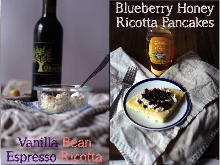 Blueberry Honey Ricotta Pancakes and Vanilla Bean Espresso Ricotta, gluten free and simple