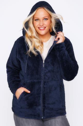 Navy Fluffy Hooded Zip Up Fleece