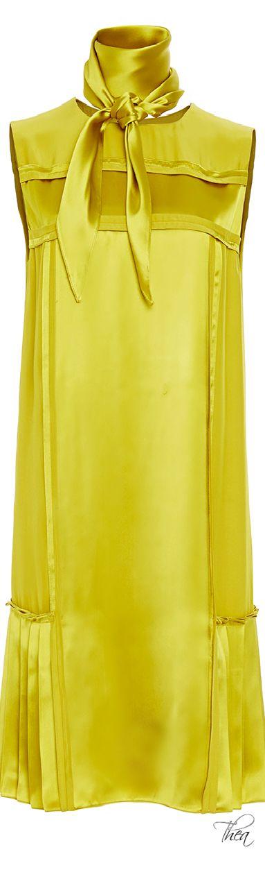 Oscar de la Renta Peridot Sleeveless Pleated Shift Dress With Scarf