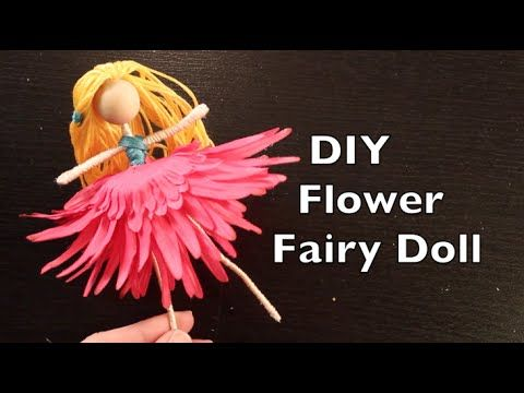 How To Make a Flower Fairy Doll with Emilie Lefler-Tutorial demonstrates how to make an Easy Fairy Doll YouTube Video 14:08 min..DIY craft idea tutorial will teach you how to make a basic flower fairy doll using floral wire, a wooden bead, embroidery floss, and a silk flower. The supplies for this tutorial inexpensive. Once you have mastered making a basic flower fairy there are a lot fun options and variations.