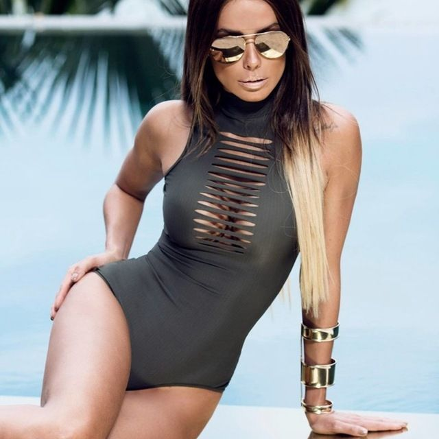 New Women Sexy Bandage bodysuit swimsuit one piece swimsuit High collar hollow Swimwear Women Bathing suit Beachwear Monokini