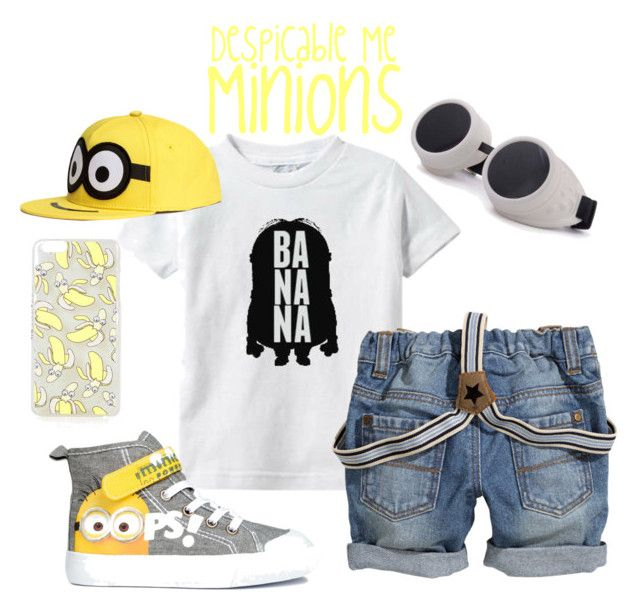"""Despicable Me - Minion Outfit - Boys"" by tinywearco ❤ liked on Polyvore...The Shirt and the hat is cute."