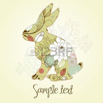 Conejo de Pascua. Con espacio para agregar texto.