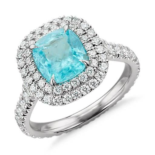 Paraiba Tourmaline and Diamond Double Halo Ring in Platinum (1.63 ct. tw. center)