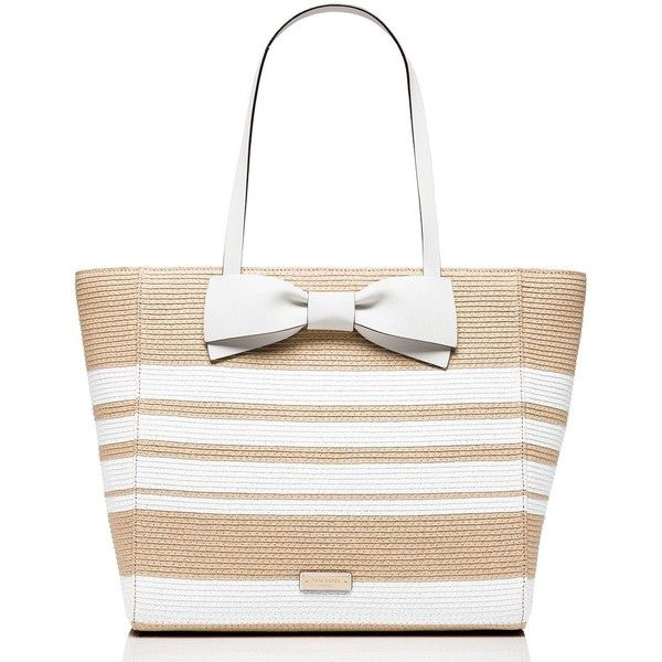 Kate Spade Clement Street Straw Blair featuring polyvore, women's fashion, bags, handbags, tote bags, purses, striped tote bag, summer totes, hand bags, white tote bag and summer straw handbags