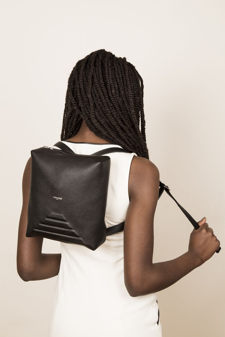 Model with our leather backpack MINIMI in black. www.jeromebocchio.com
