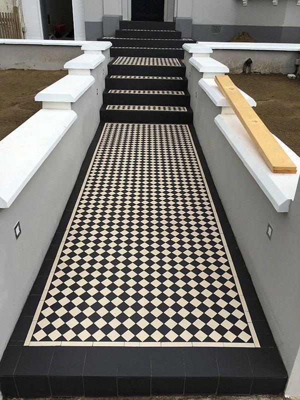 Victorian Steps Mosaic Tiles Black White Terrace House Exterior Porch Tile Front Courtyard