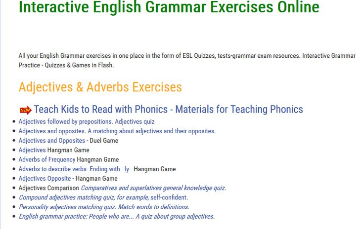 """This is an image from this resource on the Internet4Classrooms' """"Sixth Grade Language Skill Builders - Adjectives and Adverbs"""" resource page:    Interactive English Grammar Exercises Online.    Adjectives and Adverb Exercises and games"""