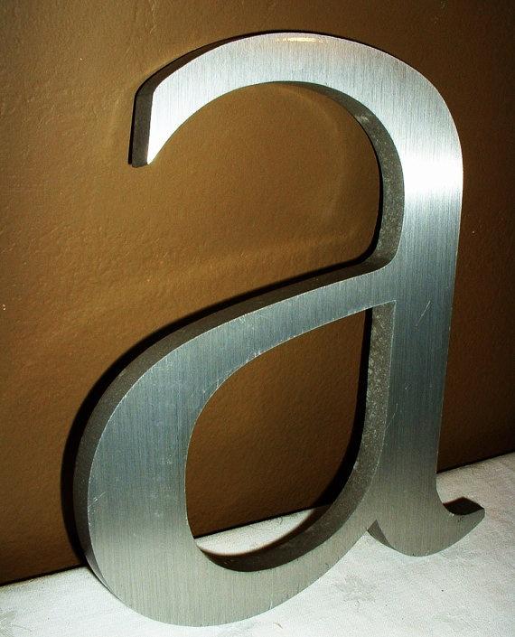 Vintage Large Industrial Metal Steel Alphabet Letter A Lower Case Optima Font