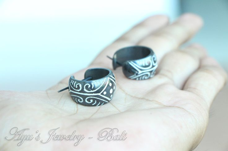 Stick Post Earrings - Black Tribal Bone w Ethnic Mayan Design #Etsy #HornEarrings #WoodEarrings #BoneEarrings #Jewelry #Earrings #Organic #Tribal #TribalStyle #BoneCarving #HornCarving #WoodCarving #Piercing #Plugs #Gauges #Tattoo #AyuJewelry
