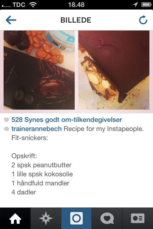 Anne Bechs sunde snickers - nappet fra Instagram Bland - frys - overtræk med choko - haps!