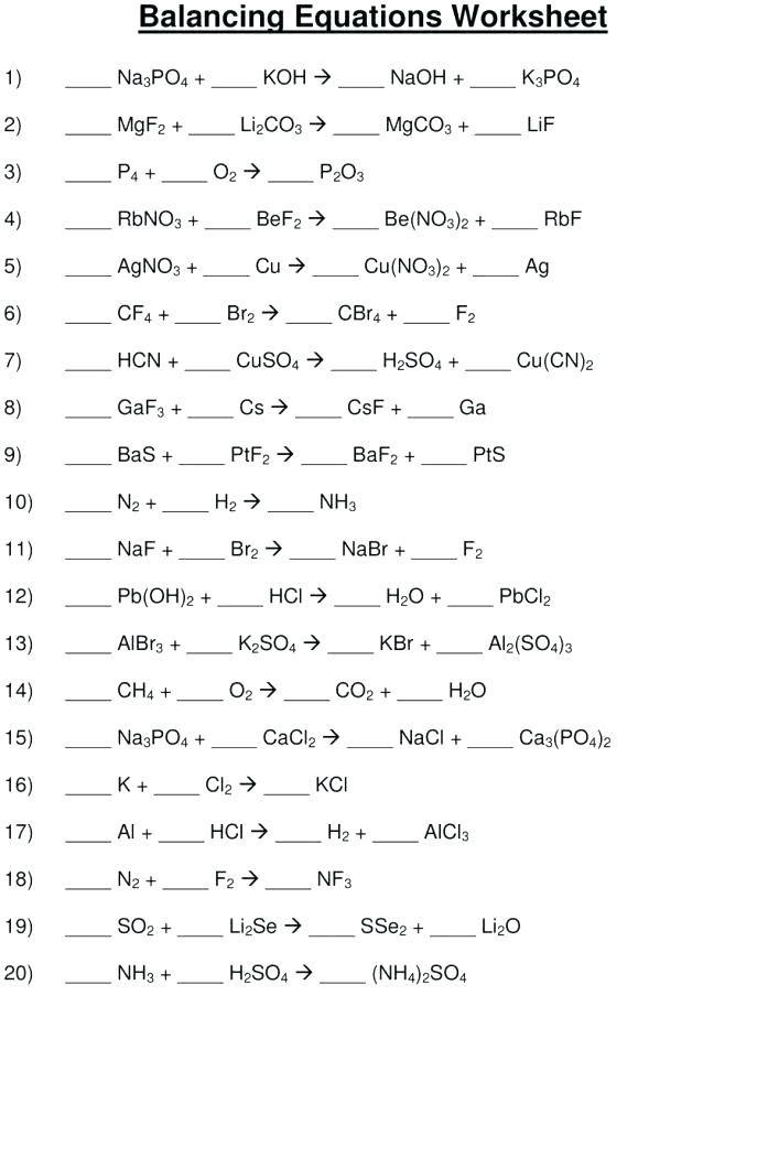 Balancing Equations Worksheet Balancing Equations Chemical