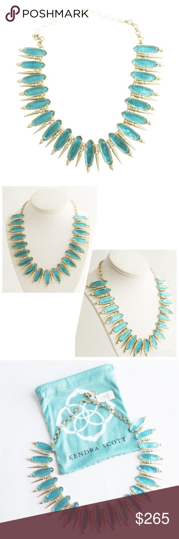 """KENDRA SCOTT Gwendolyn London Blue Illusion Collar KENDRA SCOTT """"Gwendolyn"""" London Blue Illusion Statement Collar Necklace, Crystal stations alternate with spike stations, 14K gold plated over brass, Approx. 1.5""""W X 20""""L, Lobster clasp closure, NEW with tags & pouch. No Trades Kendra Scott Jewelry Necklaces"""
