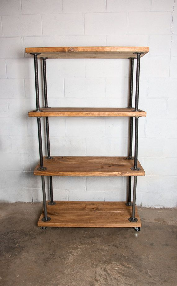 Wooden Bookshelf with Industrial Pipe Industrial by Homestead1227