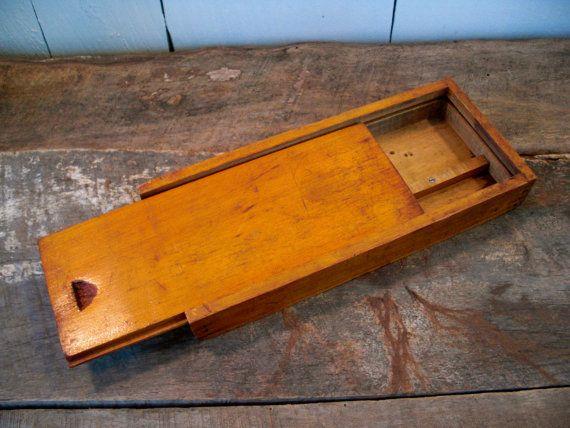 Vintage Wooden Pencil Box - Handmade Box - Small Wooden Box - Rustic Jewelry Box