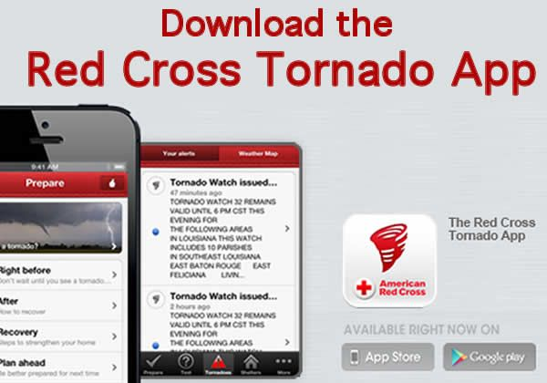 Tornado Warning App from Red Cross - this app will not only teach you what to do in case of a tornado, it will send you alerts to when there are tornadoes in your area.  There also is an emergency toolkit that turns your phone into a flash light, strobe light and more.
