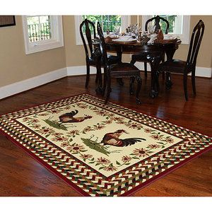 Orian Rooster Braid Rouge 5'x8' Area Rug --> I think I've been looking at rugs too long, I think this is such a cute country rug!