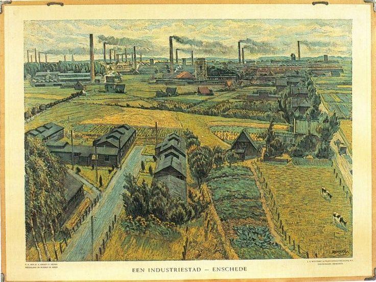 schoolplaat (textiel) industrie Enschede