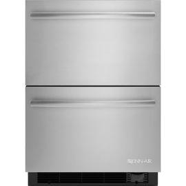 Ces tiroirs de réfrigération et congélation Jenn-Air en acier inoxydable sont d'une largeur de 24