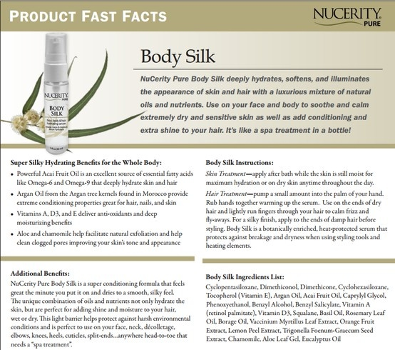 NuCerity Pure Body Silk deeply hydrates, softens, and illuminates  the appearance of skin and hair with a luxurious mixture of natural oils and nutrients. Use on your face and body to soothe and calm  extremely dry and sensitive skin as well as add conditioning and  extra shine to your hair. It's like a spa treatment in a bottle!