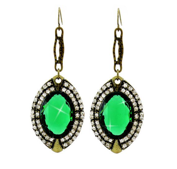 Clip Earring, Clip Earings, Clip On Earring, Green Earings, Emerald Green Earring, Crystal Earring, Vintage, Dangle Clip Earrings, Fabulous