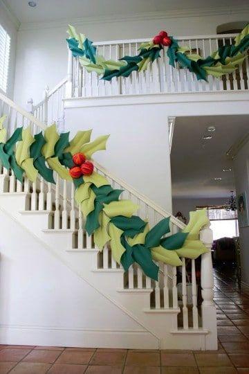 guirnalda navideñas de papel para escaleras