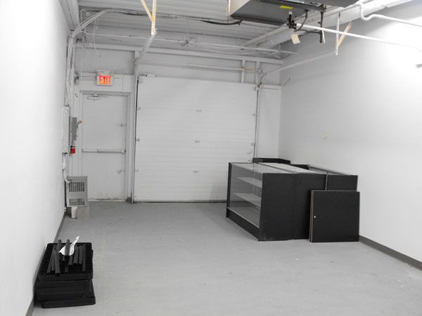 View of the future stockroom and receiving area.