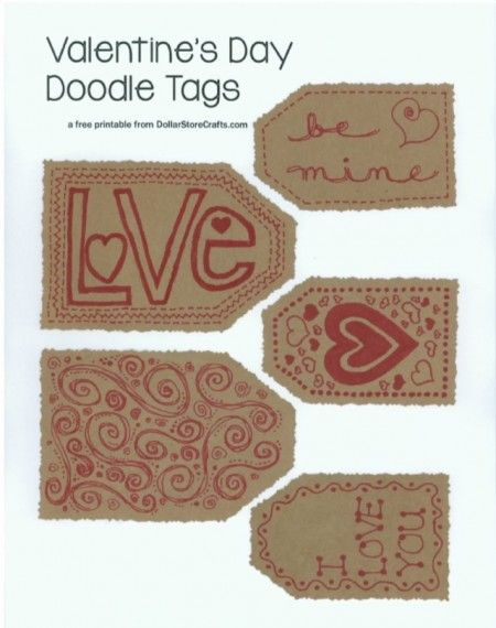 Daily Free Printable: Valentine's Day Doodle Tags | Mrs. Greene - crafts, food, fashion, life