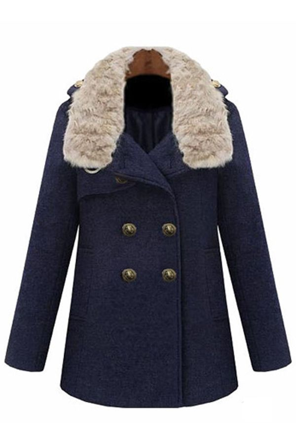 Warm Double-breasted Wool-blend Coat - OASAP.com
