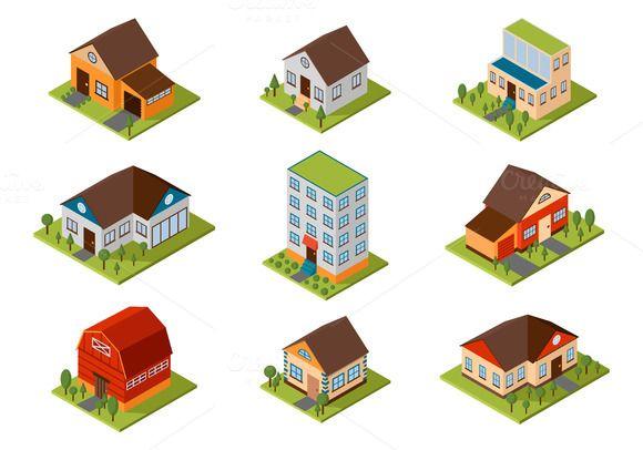 Isometric house vector illustration @creativework247