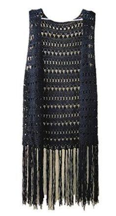 black long fringed sleeveless tunic cardigan top                              …